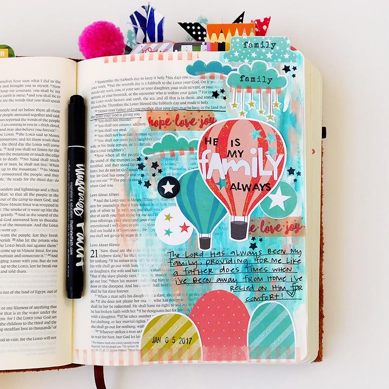 mixed media hybrid art journaling Bible entry by Elaine Davis | Family Ties