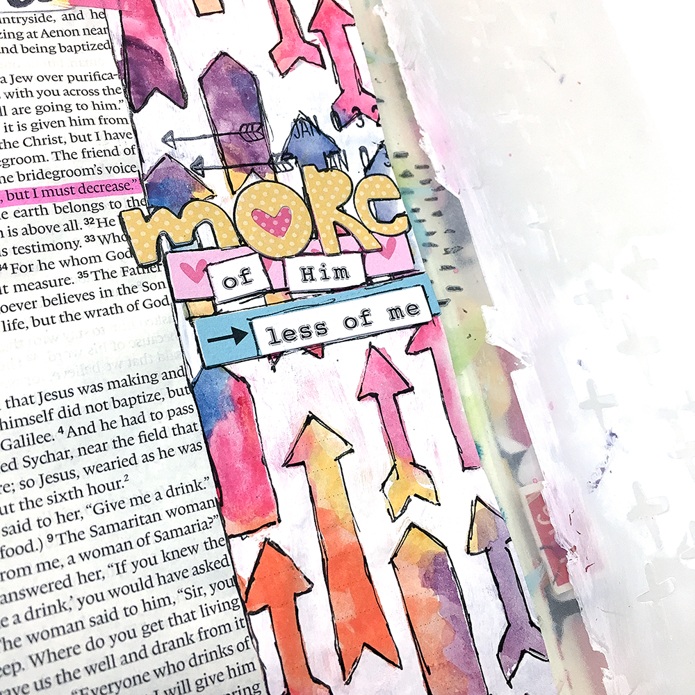 mixed media Bible art journaling tutorial by Heather Greenwood | masking arrows | watercolors and acrylic paint | More of God and less of me