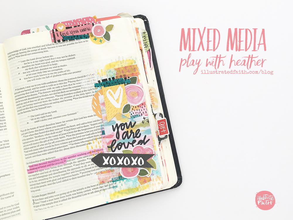mixed media bible art journaling process video by Heather Greenwood | Illustrated Faith Goals with Grace devotional | Act 2:42