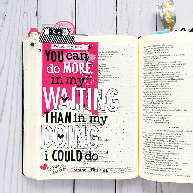 bible journaling worth the wait entry by Bailey Jean Robert | Psalm 40