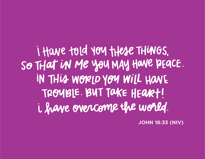Sunday Inspiration from John 16:33 and free printable download