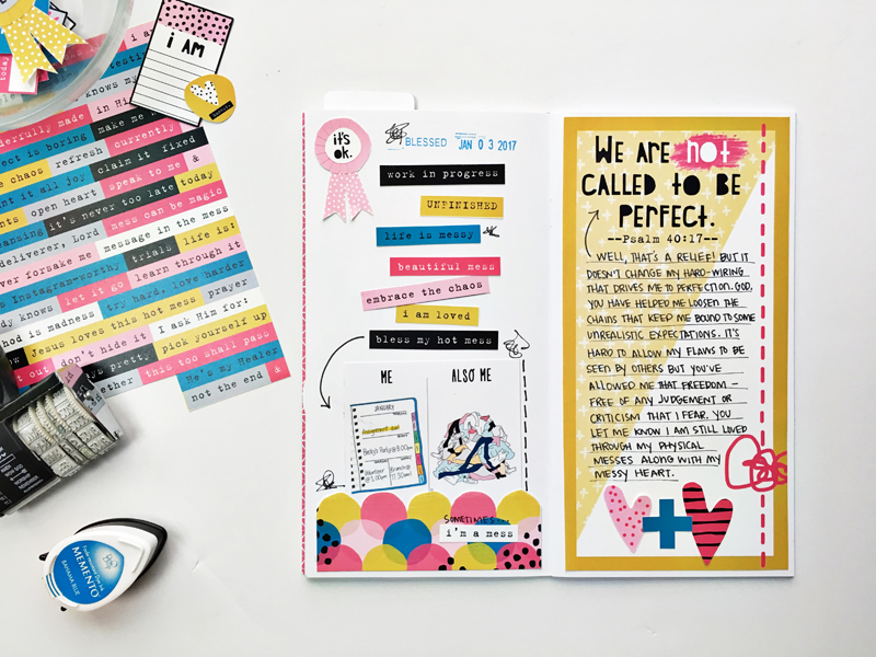 hybrid travelers notebook faith art journaling by Andrea Gray | Mess? What Mess? | Psalm 40:17