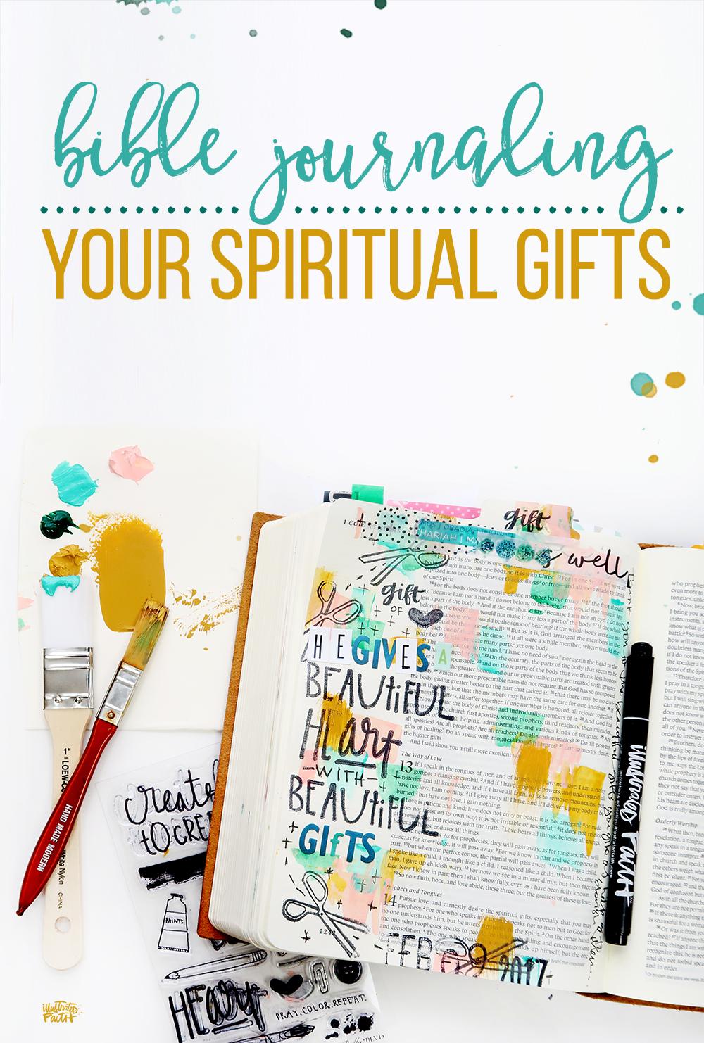 mixed media Bible journaling: Bible Journaling Your Spiritual Gifts by Shanna Noel