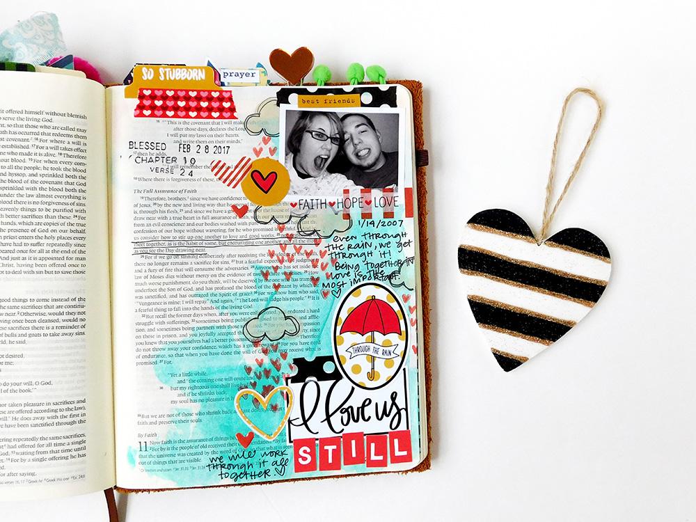 hybrid mixed media Bible journaling entry by Elaine Davis and husband Ian | Illustrated Faith Stubborn Love workshop