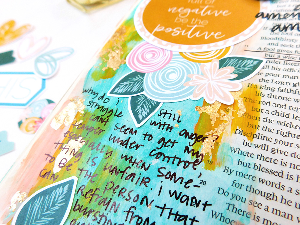 hybrid mixed media art journaling Bible entry by Elaine Davis | Seeing the Bigger Picture in Moments of Anger | Proverbs 29