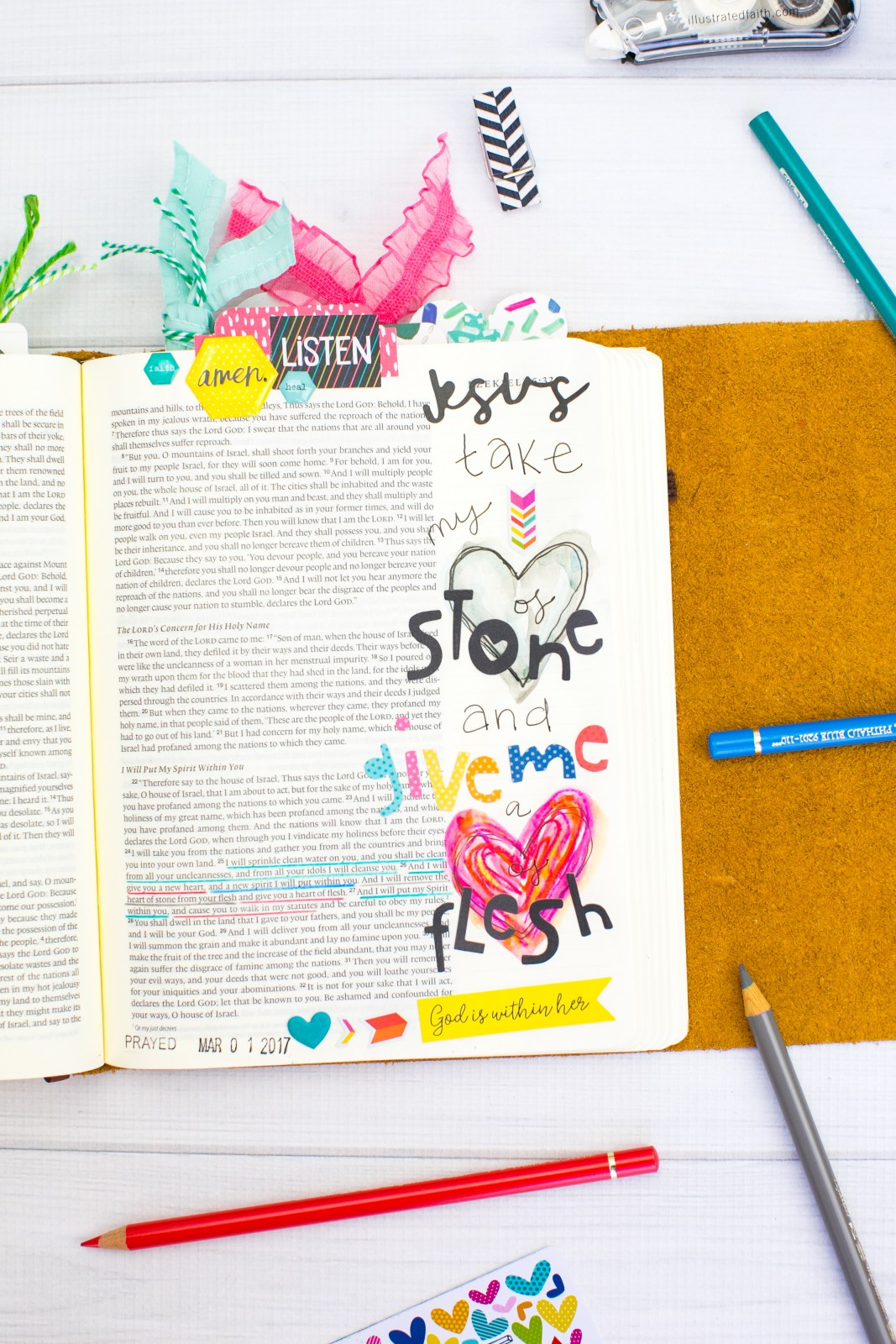 watercolor Bible Journaling heart of stone and neocolor heart tutorial by Amy Bruce
