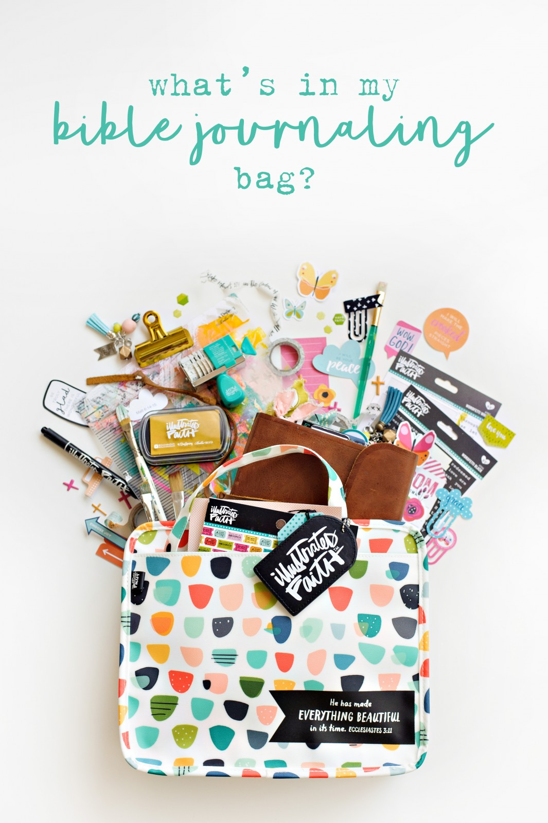 List of what's in Shanna Noel's Illustrated Faith Bible Journaling Bag
