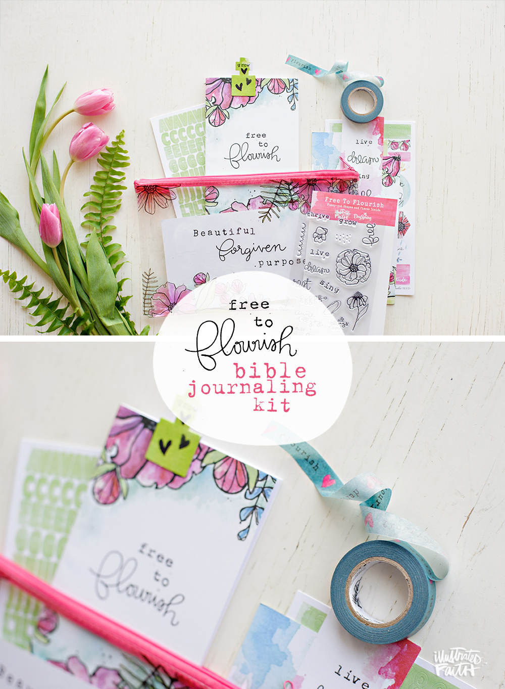 Illustrated Faith and Dayspring Free to Flourish Bible journaling devotional kit written by Bekah Blankenship and mixed media process video by Shanna Noel