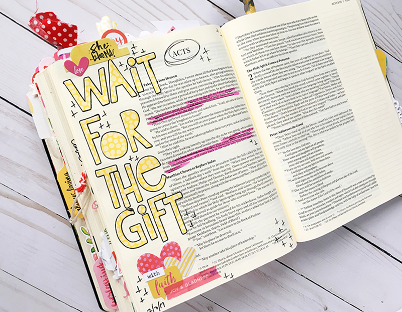 bible journaling entry by Bailey Jean | Worth the Wait series: Wait for the Gift, the Gift is Coming | Acts 1