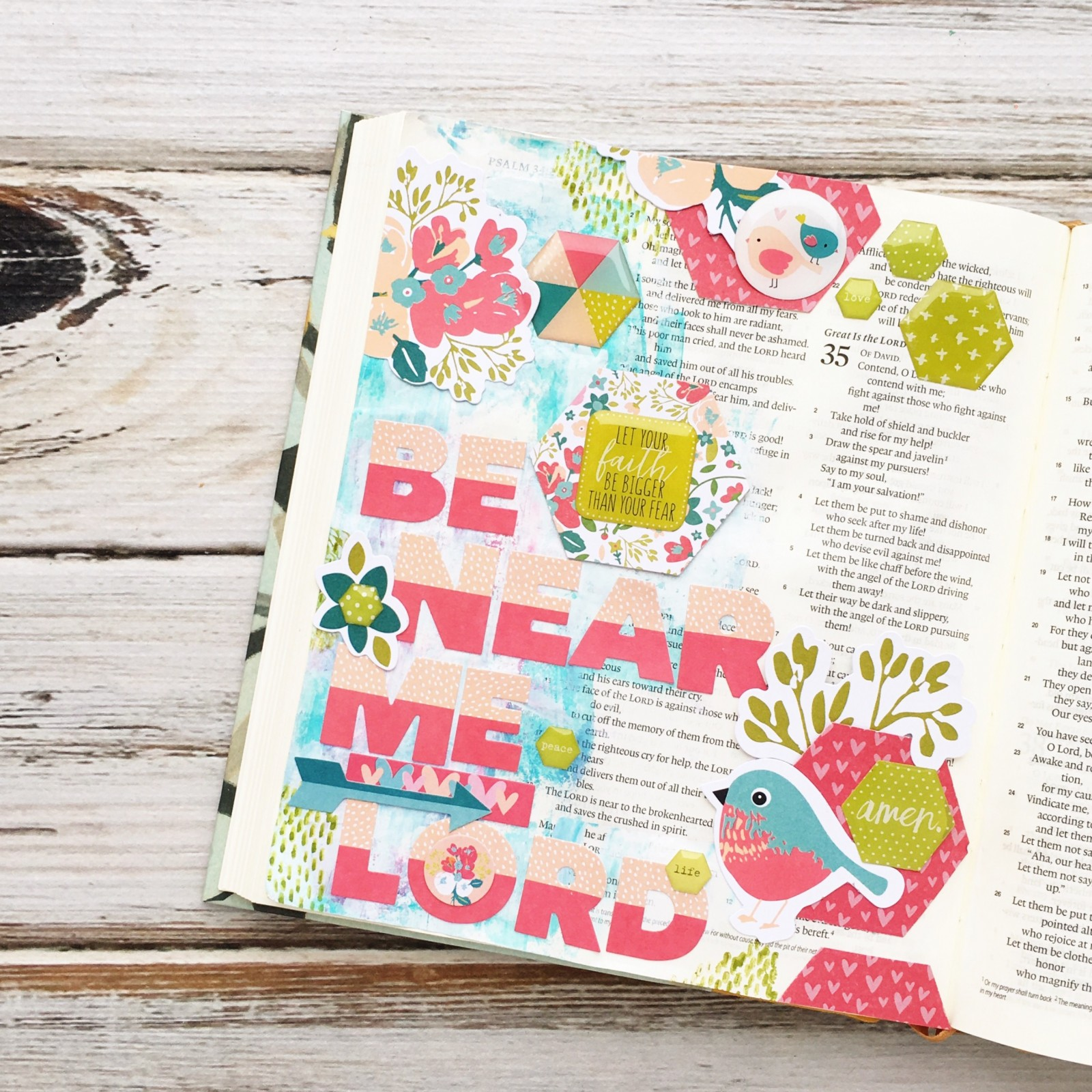 mixed media Bible art journaling entry Psalm 34:18 - Be near the broken hearted by Heather Greenwood