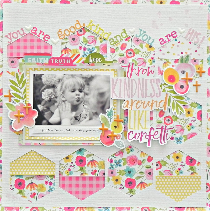 scrapbook layout by Stephanie Buice using the new Illustrated Faith by Bella Blvd 12x12 Paper Pad
