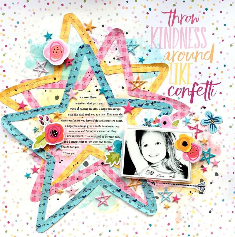 scrapbook layout by Missy Whidden using the Illustrated Faith 12x12 Basics Collection