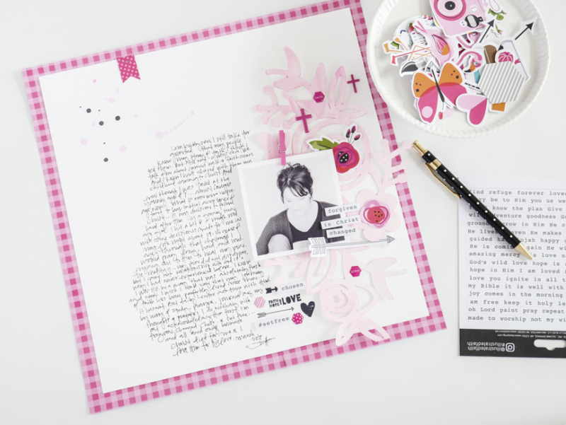 scrapbook layout by Jamie Pate documenting her faith using the Illustrated Faith by Bella Blvd Basics Collection