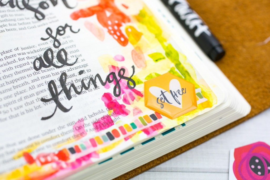 Watercolor Bible Journaling Tutorial | Leaning In - A Time and a Season for All Things | Ecclesiastes 3 | adding stickers and elements