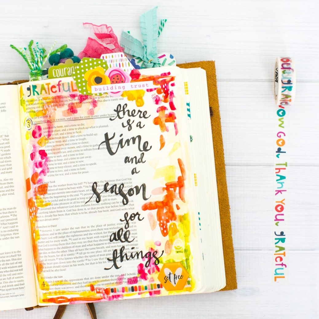 Watercolor Bible Journaling Tutorial | Leaning In - A Time and a Season for All Things | Ecclesiastes 3