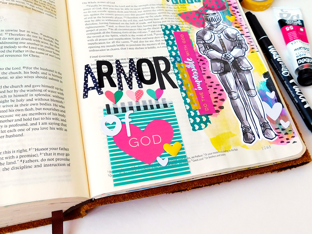 mixed media hybrid Bible journaling entry by Elaine Davis | Put a Bow on Your Armor of God | Ephesians 6:13-18