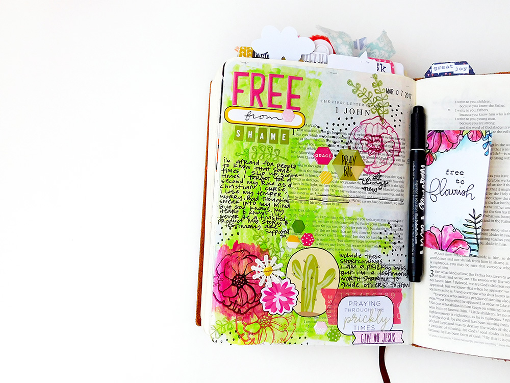 mixed media art journaling Bible entry by Elaine Davis | Fighting Through the Prickles & Shaking Shame | Illustrated Faith Free To Flourish Devotional by Bekah Blankenship