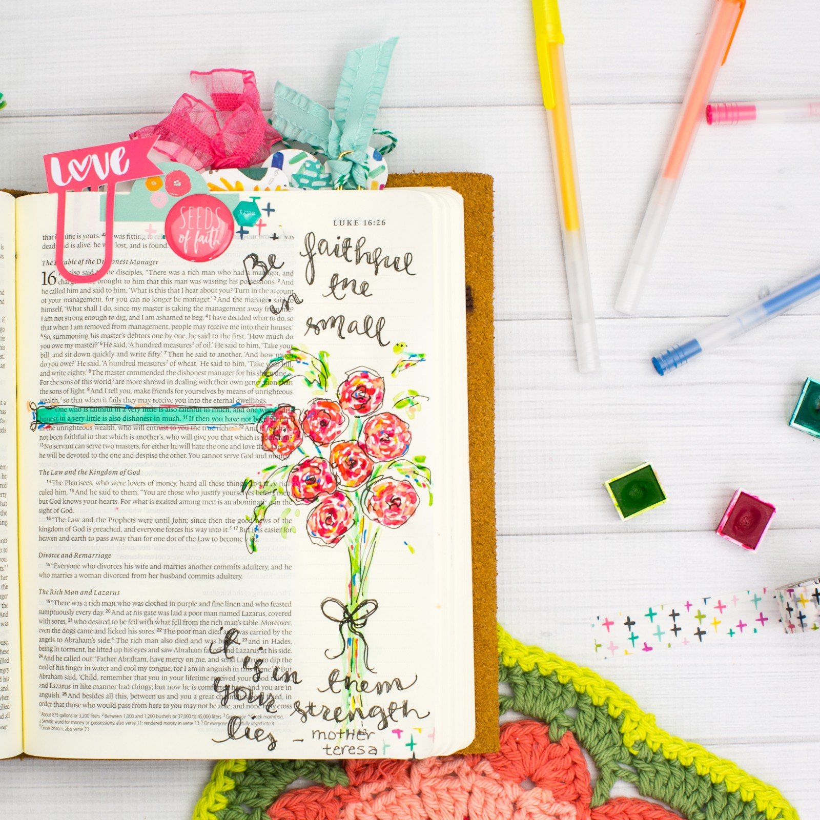 Watercolor Bible Journaling Tutorial | Leaning In - Faithful in the Little Things by Amy Bruce