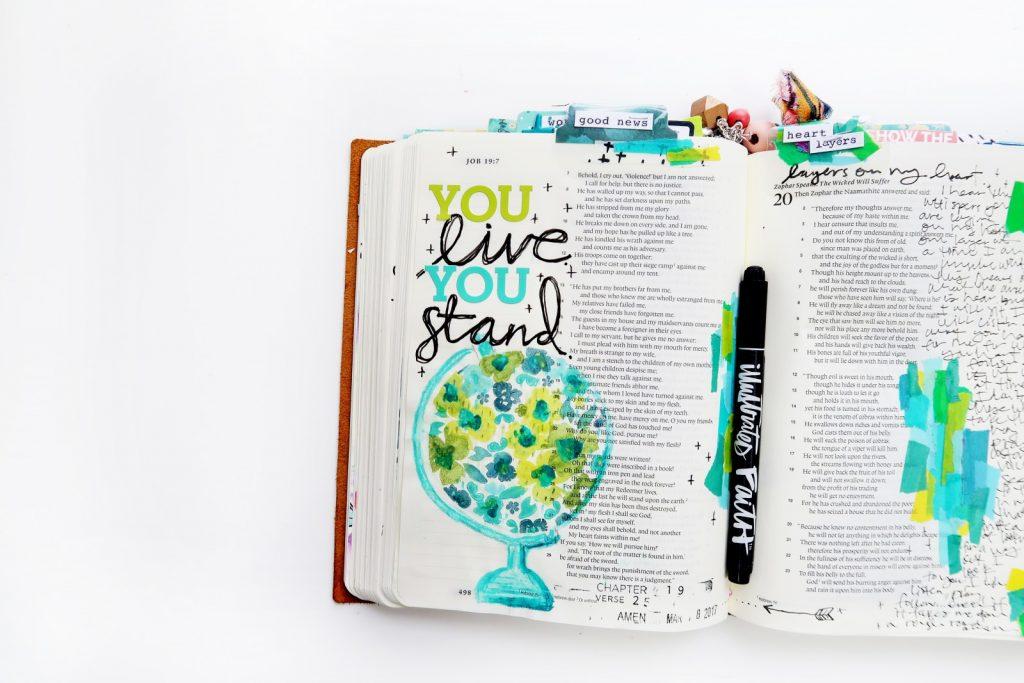 bible journaling stamping