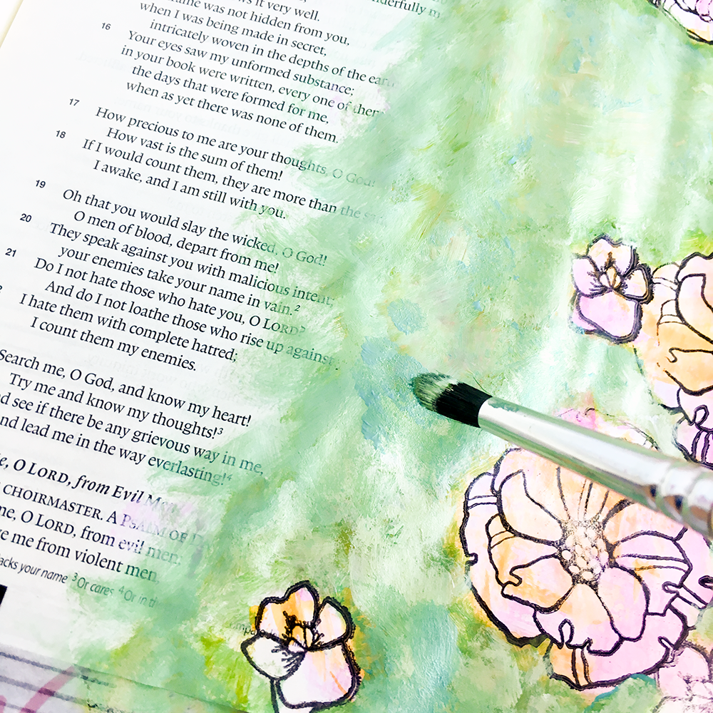 mixed media bible journaling tutorial painterly layers by Heather Greenwood | Illustrated Faith Free to Flourish Devotional - Free From Insecurity