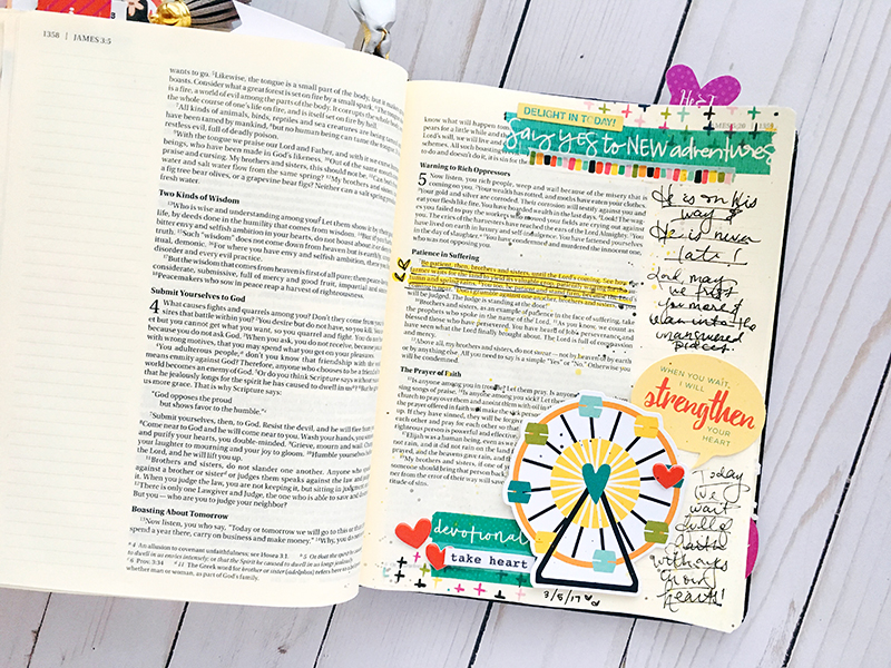 bible journaling entry by Bailey Jean Robert | Worth the Wait | Everyday Adventures | James 5