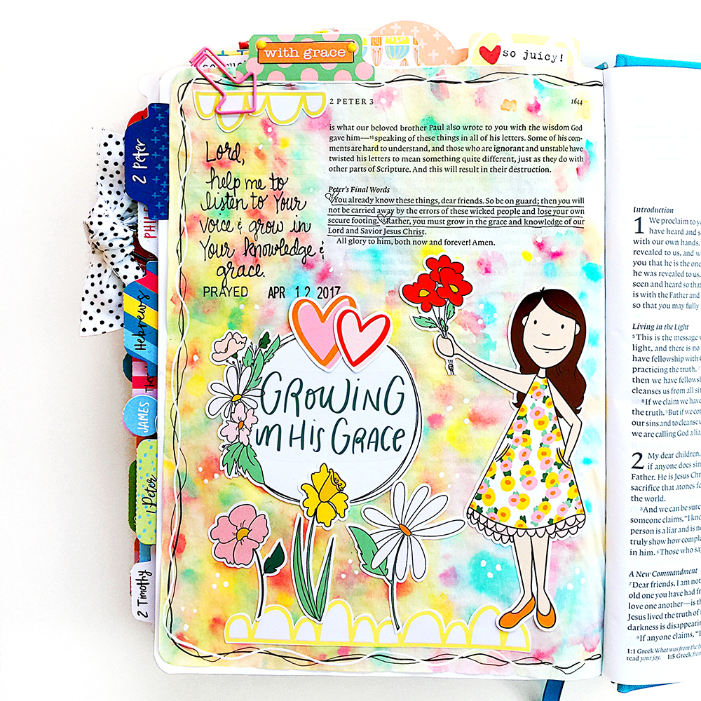 Growing in Grace: Bible Journaling Watercolor Technique Tutorial with Cristin Howell | Print & Pray Spring Round-Up!
