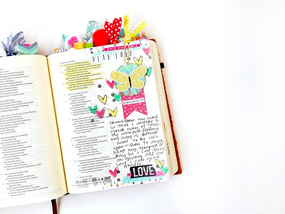 Print & Pray Crepe Paper Embellishments tutorial | bible journaling entry  by Elaine Davis