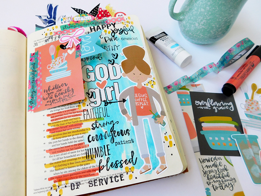 hybrid Bible journaling entry by Elaine Davis using acrylic paint and digital printables | What Makes a God Girl?: Proverbs 31