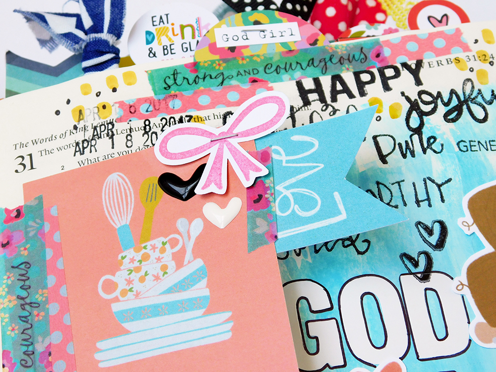 hybrid Bible journaling entry by Elaine Davis using acrylic paint and digital printables   What Makes a God Girl?: Proverbs 31