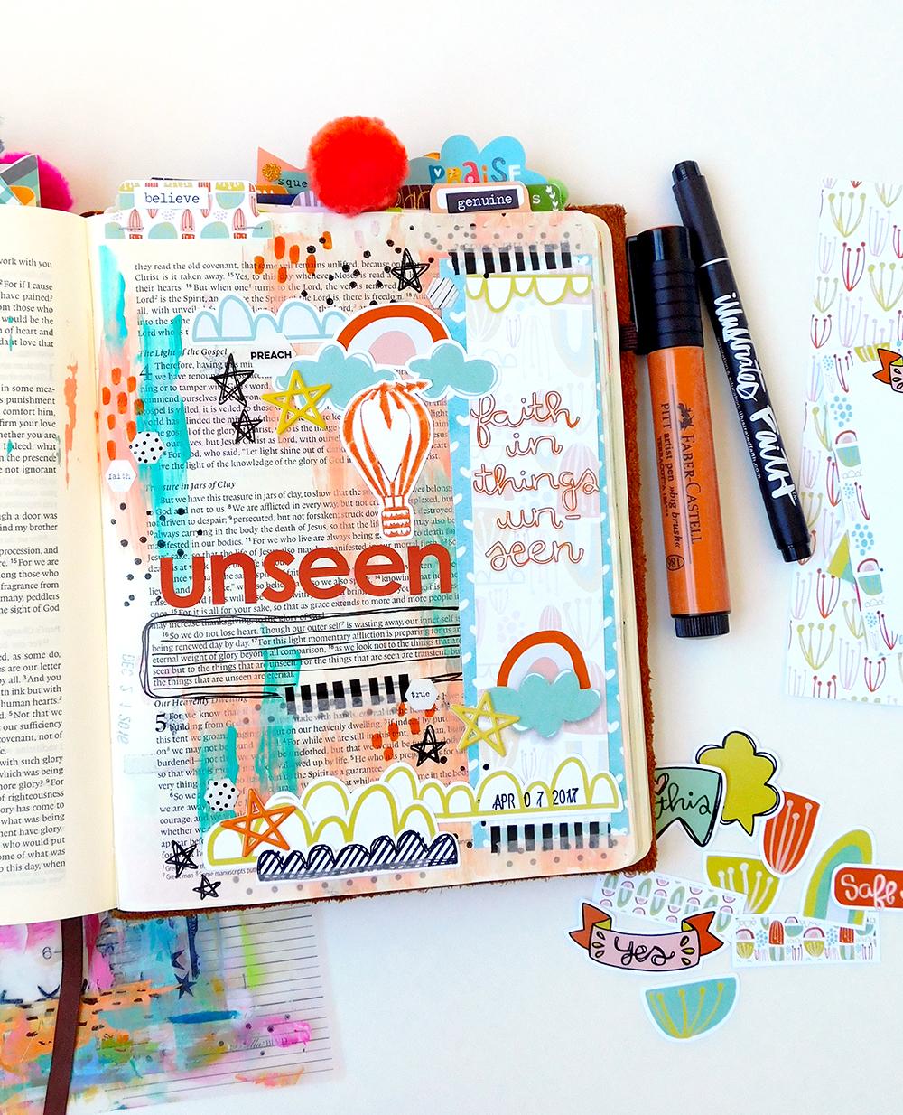 hybrid digital mixed media art journaling bible entry by Elaine Davis | Believe in Things Unseen