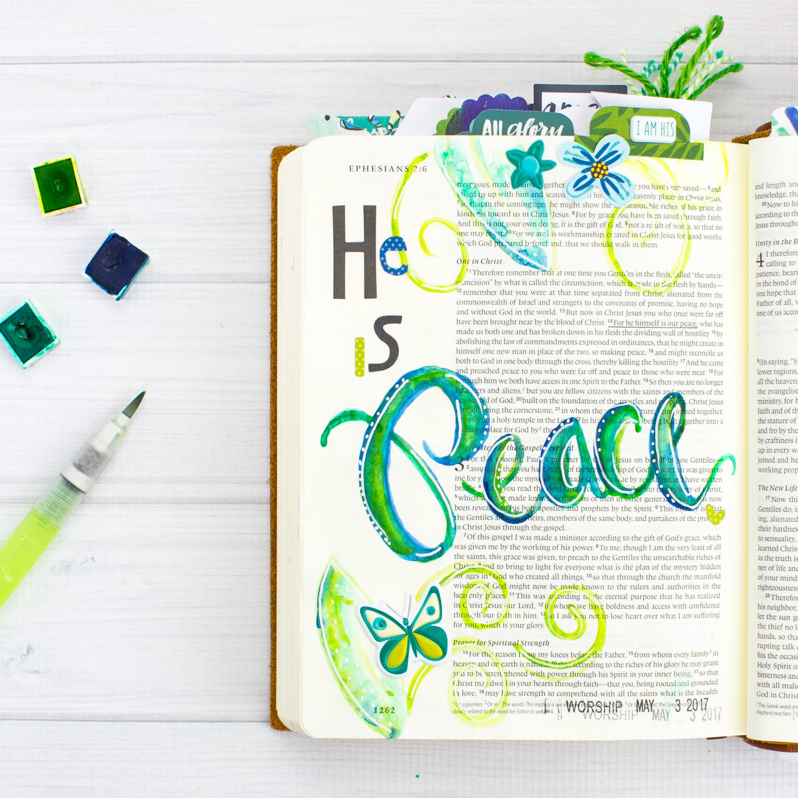 art journaling bible Watercolor Tutorial by Amy Bruce   Leaning In - He is Peace