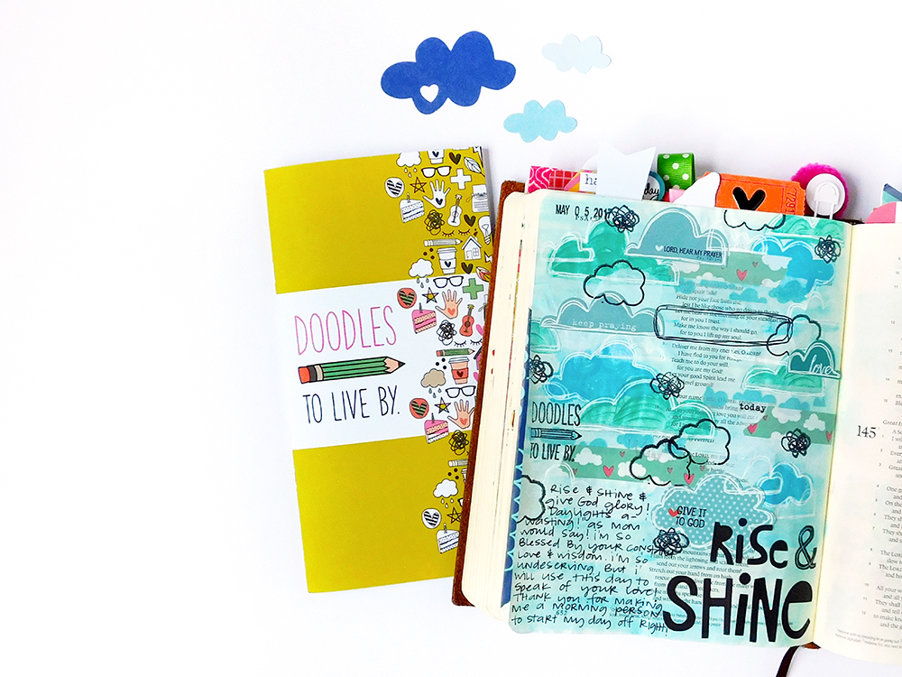 mixed media Bible journaling entry by Elaine Davis | Doodles to Live By Day 4: Rise & Shine!