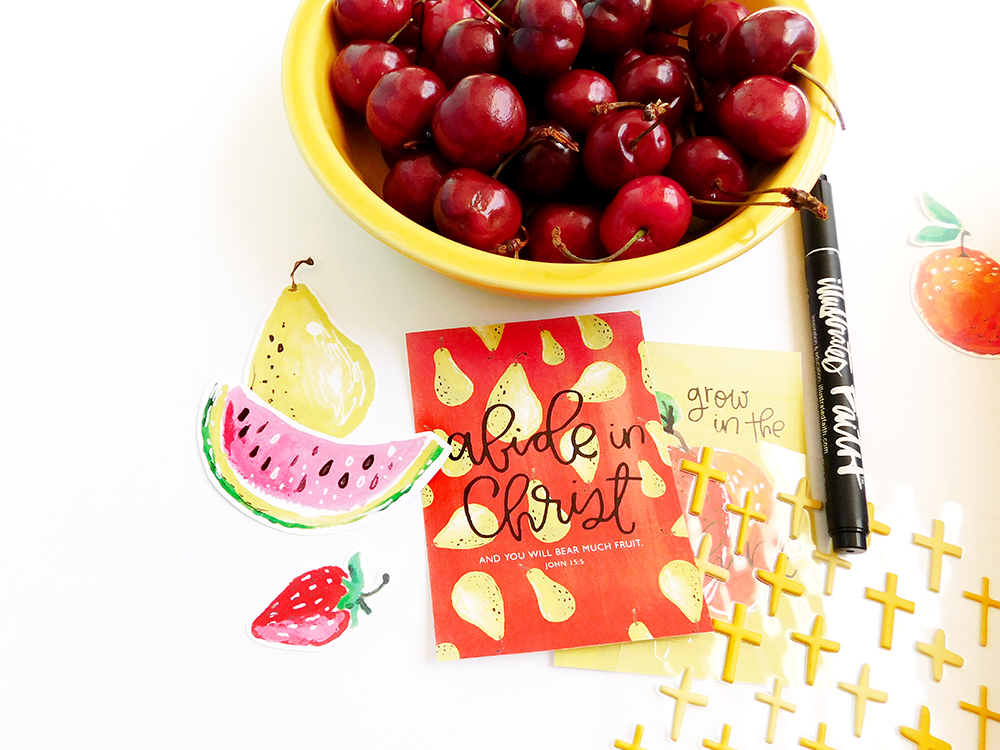 hybrid digital printable mixed media bible journaling entry by Elaine Davis | Use What You Have: Fruit Produce Stickers