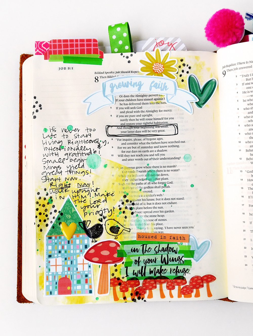 hybrid digital printable mixed media Bible journaling entry by Elaine Davis | Good to Grow, A Lesson from Job