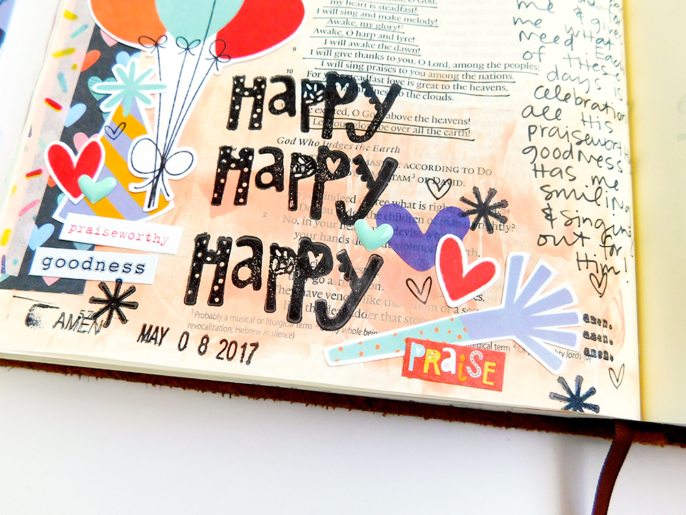 hybrid digital printable mixed media Bible journaling entry by Elaine Davis | Happy Happy Happy about God's LOVE!