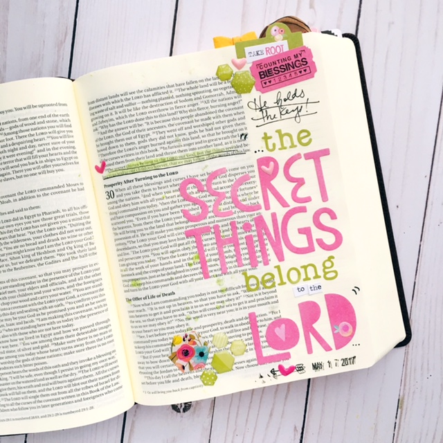 Bible journaling entry by Bailey Jean Robert | Worth the Wait | The Secret Things | Deut 29:29