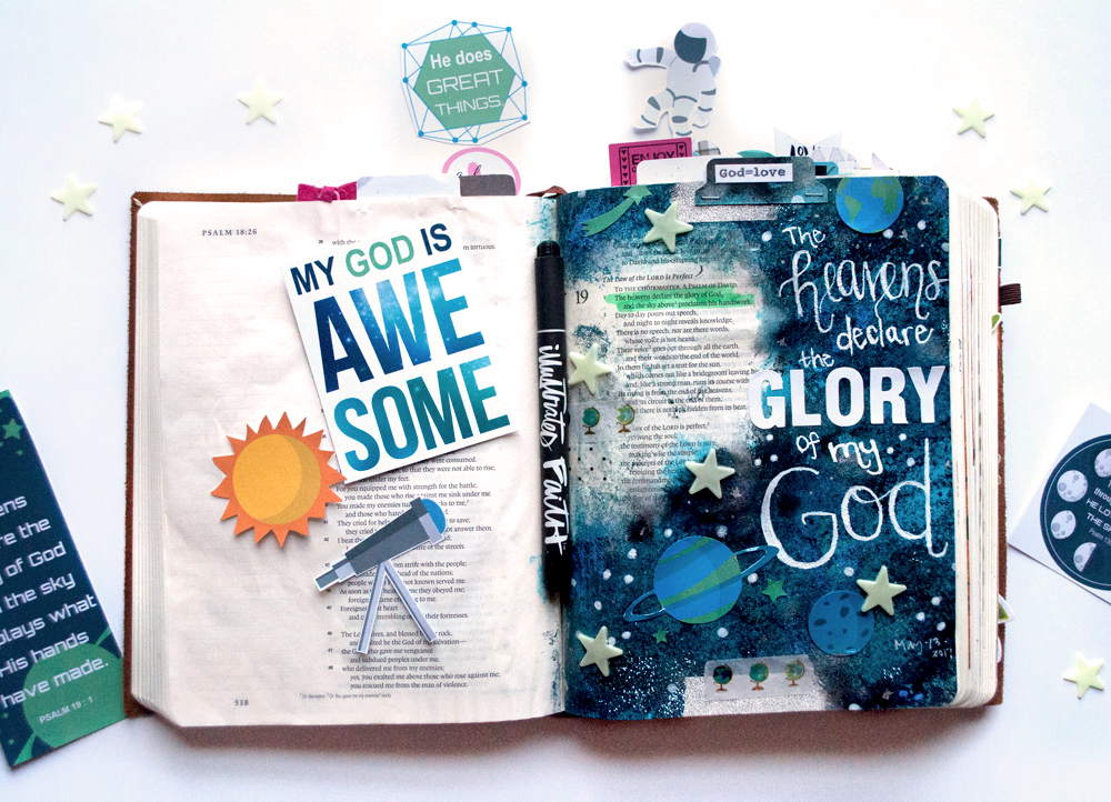 digital hybrid mixed media Bible journaling entry by Leah | Outta This World Love with Leah Schumacher | Print & Pray Spring Round-Up!