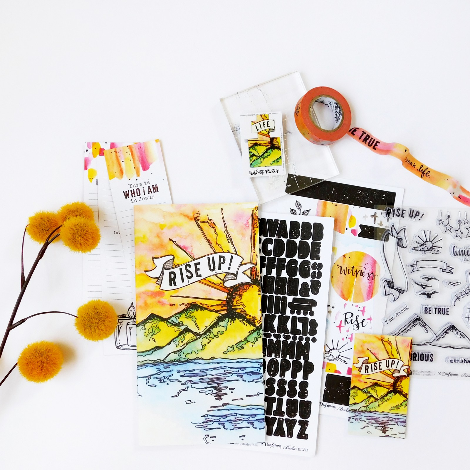 mixed media bible art journaling process video by Shanna Noel using the Rise Up! Devotional Kit