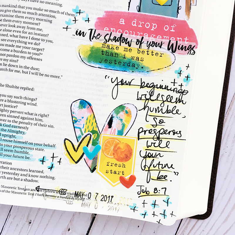 hybrid Bible Journaling entry by Bailey Jean Robert | Worth the Wait | Small Beginnings | Beloved Society