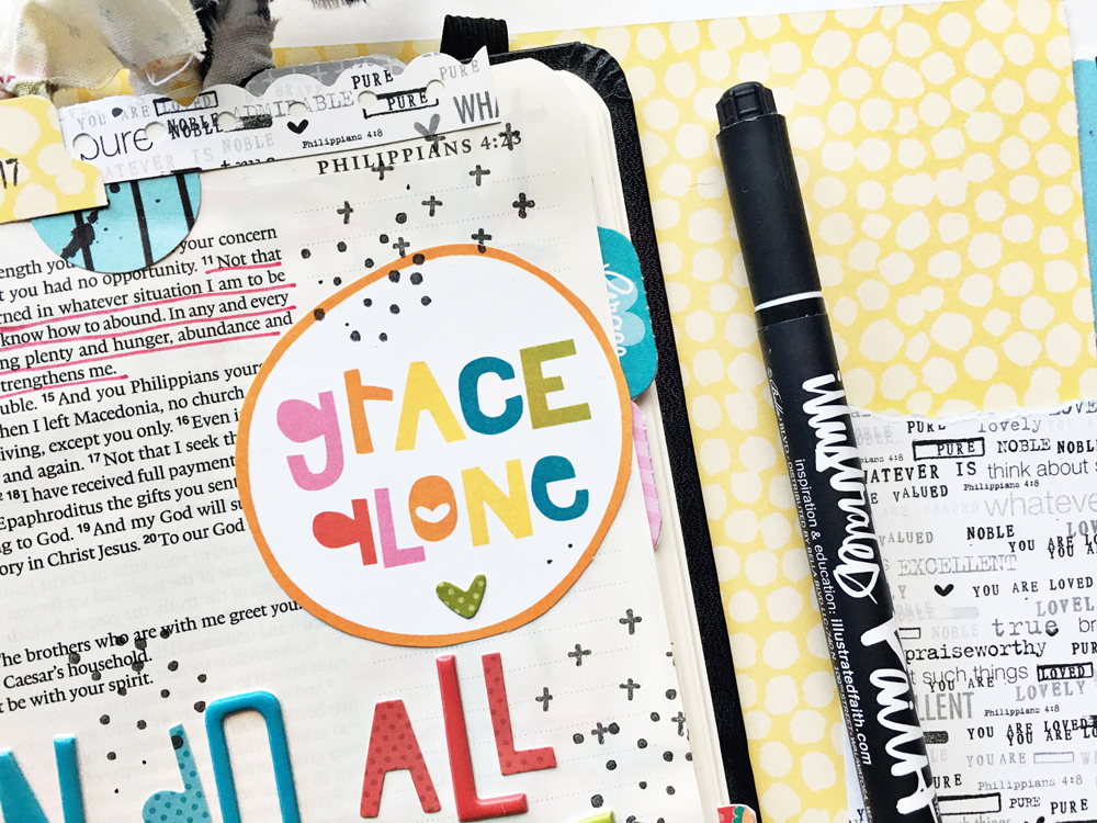 bible journaling entry by Andrea Gray   Memory Keeping: Faith Edition   Through Christ Who Strengthens Me