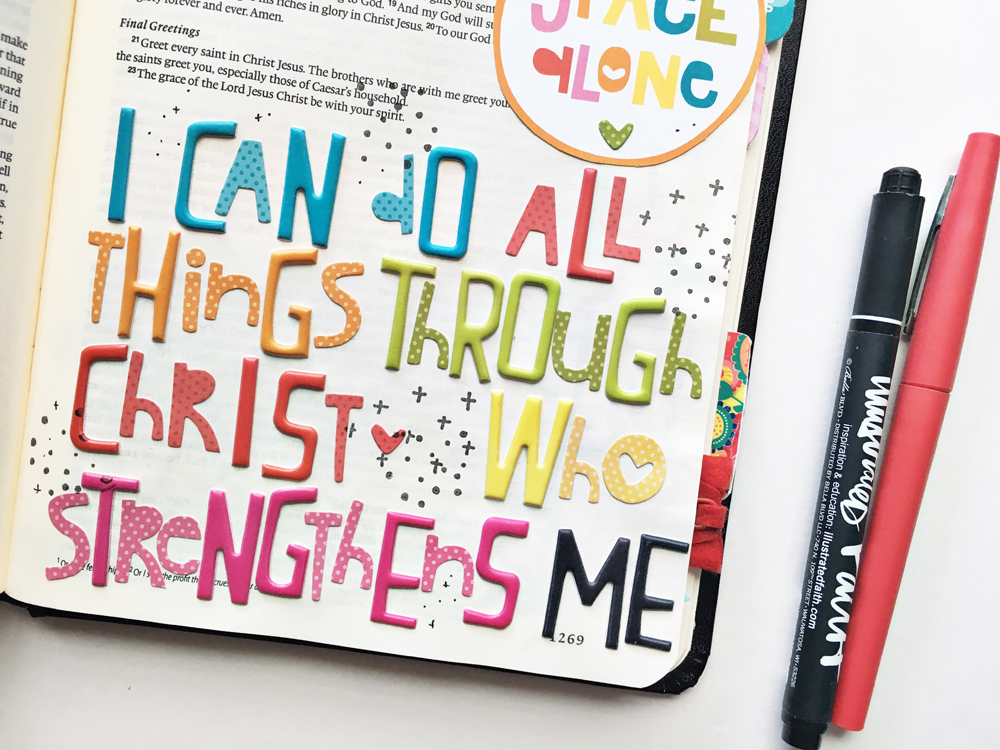 bible journaling entry by Andrea Gray | Memory Keeping: Faith Edition | Through Christ Who Strengthens Me