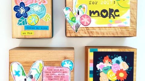 Mixed Media Wooden Blocks with Print & Pray!