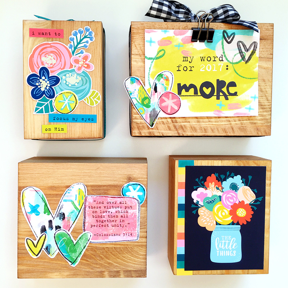 hybrid printables project and tutorial by Cristin | Mixed Media Wooden Blocks with Print & Pray!