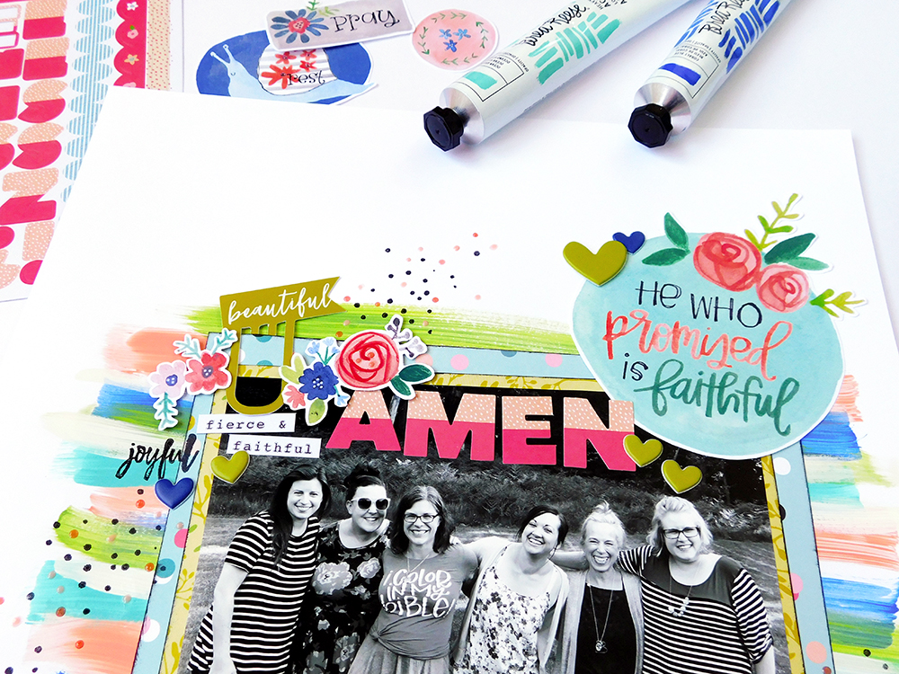 mixed media and hybrid scrapbook page by Elaine Davis | Scrapbook His Faithfulness with Print & Pray!