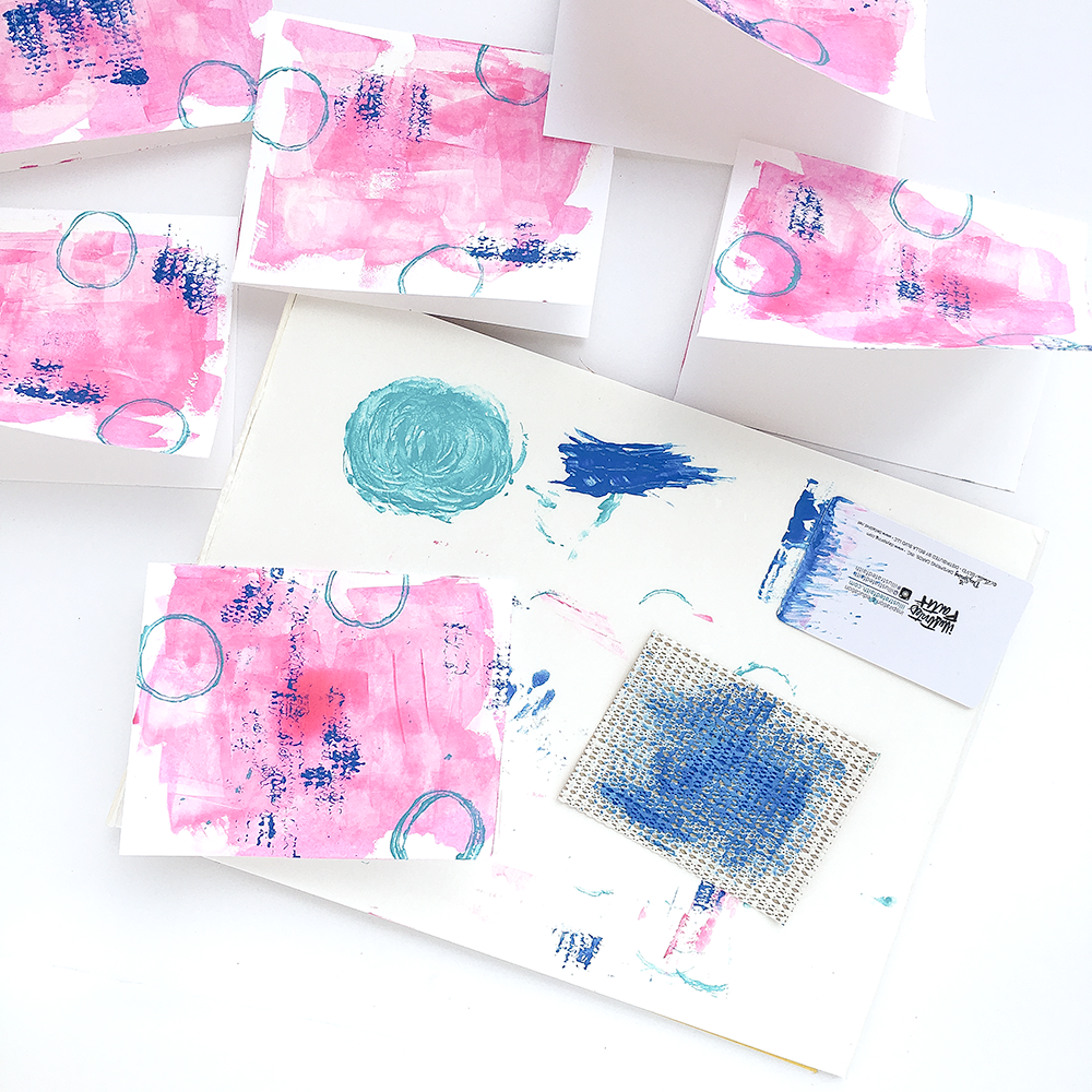 mixed media tutorial by Heather Greenwood creating faith greeting cards stamping objects found around the house | Philippians 4:8 Whatever Is Lovely Collection