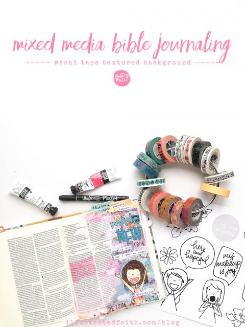 Mixed Media Bible Journaling Tutorial – Washi Tape Background | Romans 3:20-24