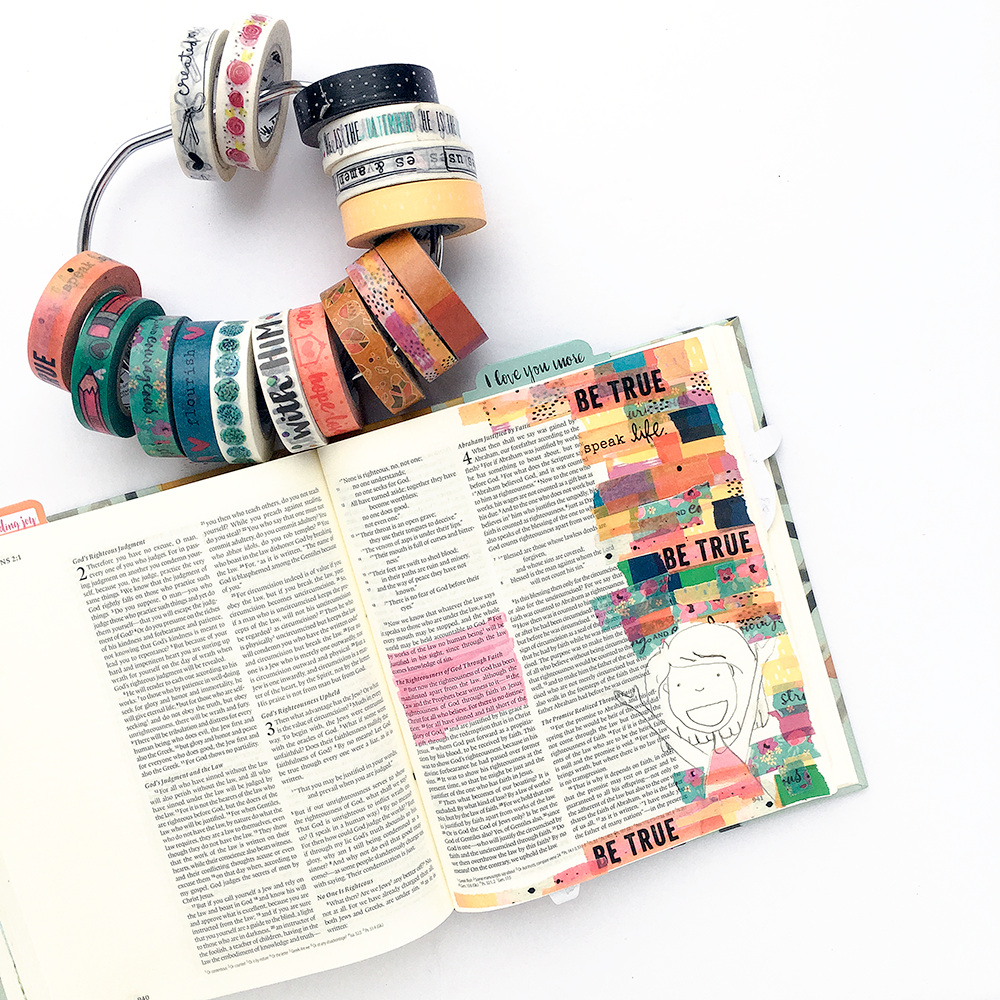 mixed media bible journaling tutorial using washi tape collage by Heather Greenwood | Romans 3:20-24 | Illustrated Faith Rise Up! devotional | Illustrated Faith Print & Pray Traceables by Brandi Kincaid