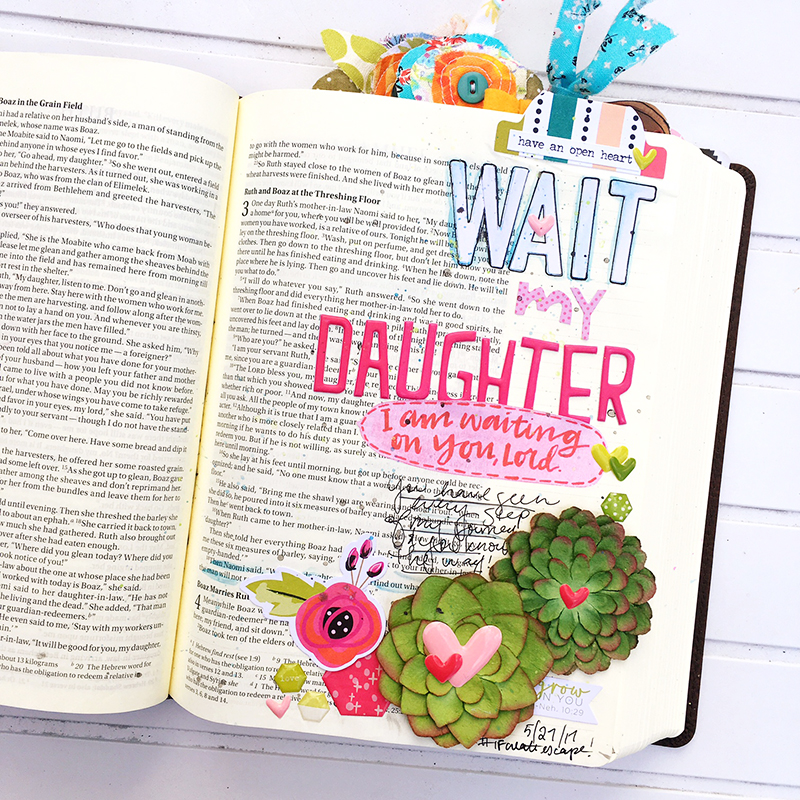 Bible Journaling entry by Bailey Robert | Worth the Wait | Wait My Daughter | Ruth and Naomi