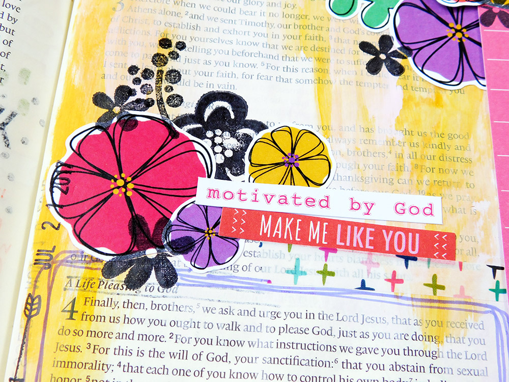 mixed media bible journaling entry by Elaine Davis   Speak Truth to the Lord, Speak Life to the World