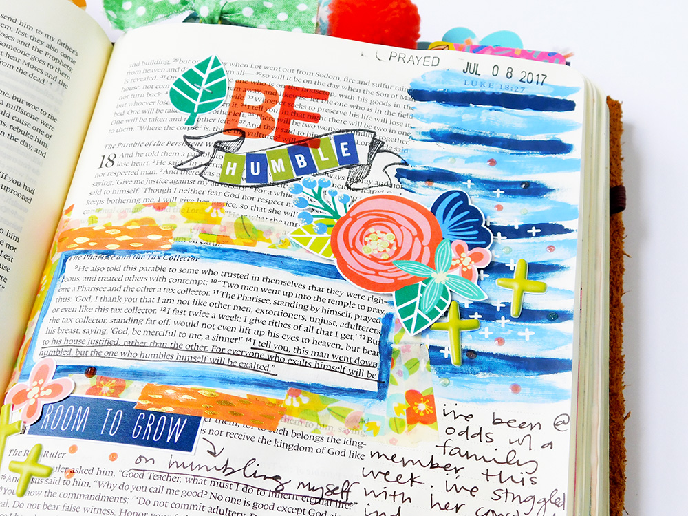 hybrid mixed media bible journaling entry by Elaine Davis | A Piece of Parable Pie & A Lesson from Luke